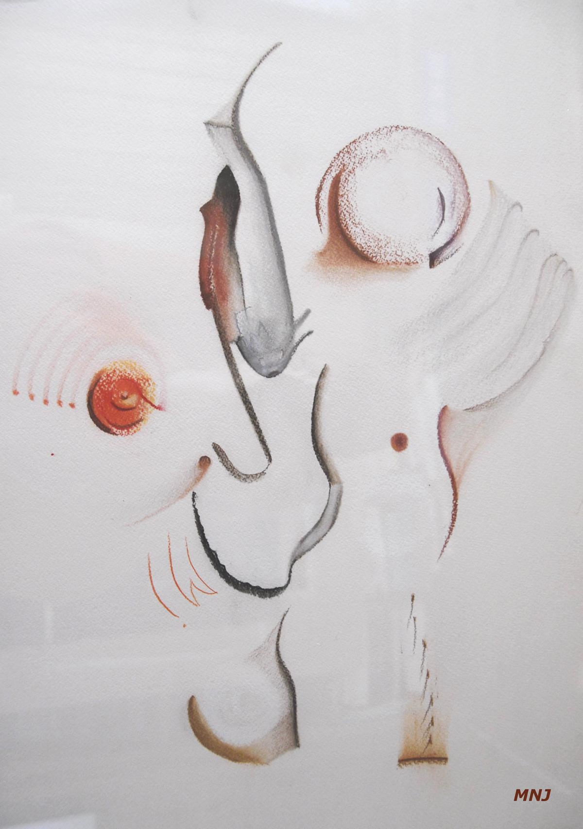 144 - LE PECHEUR A LA MOUCHE - crayon et pastel -  - 36 x 51