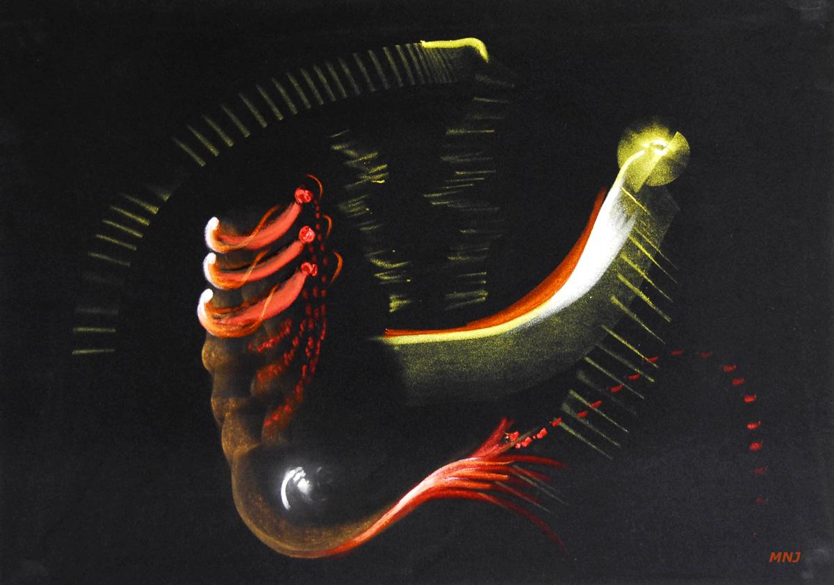157 - AMIBE  - pastel sur velours - 50 x 70