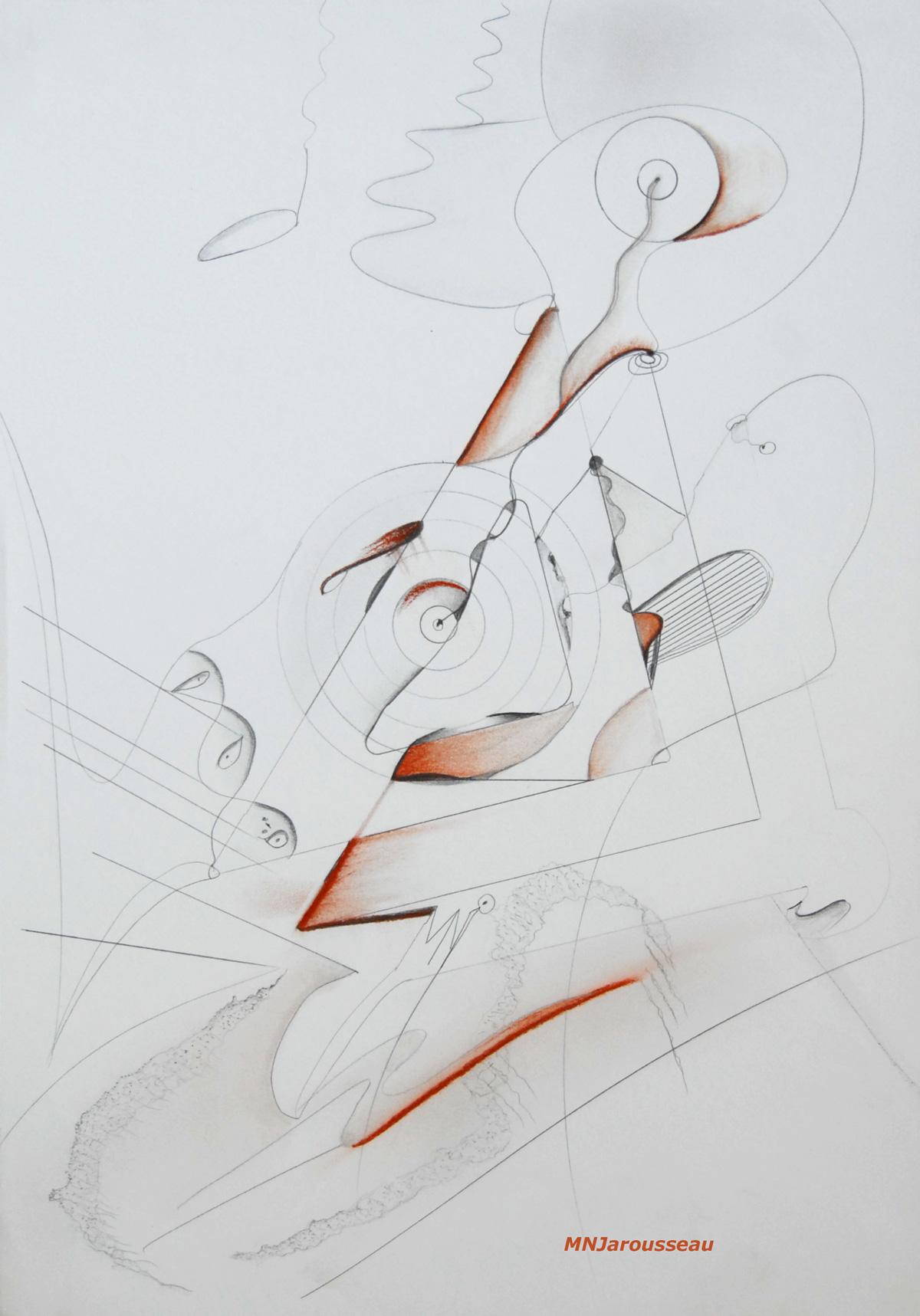 174 - LE ROBOT MELOMANE - crayon & pastel - 29,7 x-42