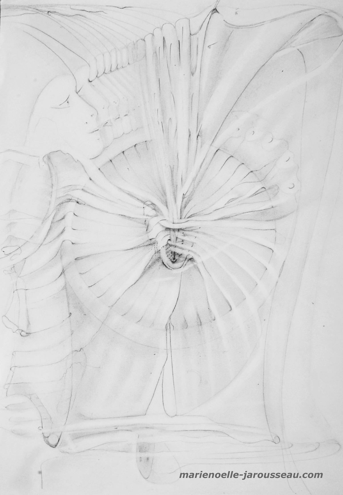 208 - LA BAIGNEUSE & LA MEDUSE - crayon - 29,7 x 42