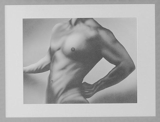 34 - HOMME NU - Aérographie - 51 x 66