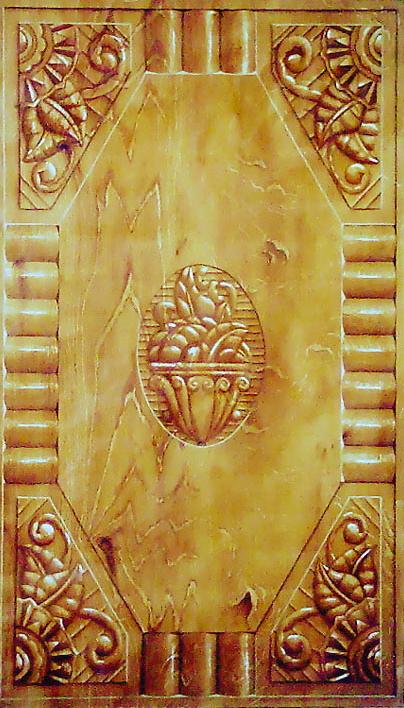 44 PORTE FAUX BOIS - Huile - Décor peint