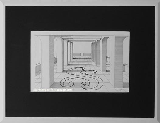PERSPECTIVE NOIR ET BLANC  - Rotring 86 x 66