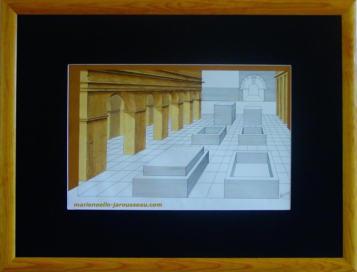 PERSPECTIVE & PIERRES - Rotring et aquarelle 67 x 87