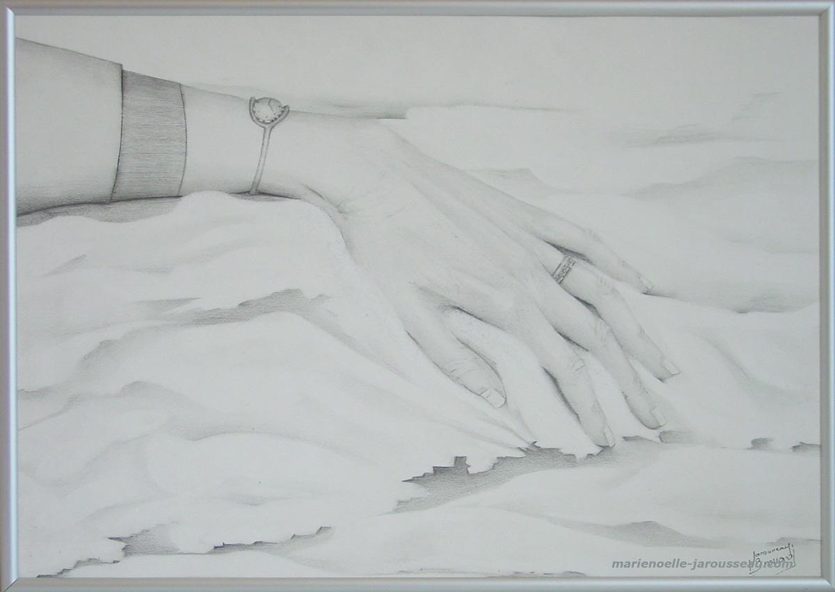 LA MAIN TRANQUILLE - Crayon - 30,5 x 42,5