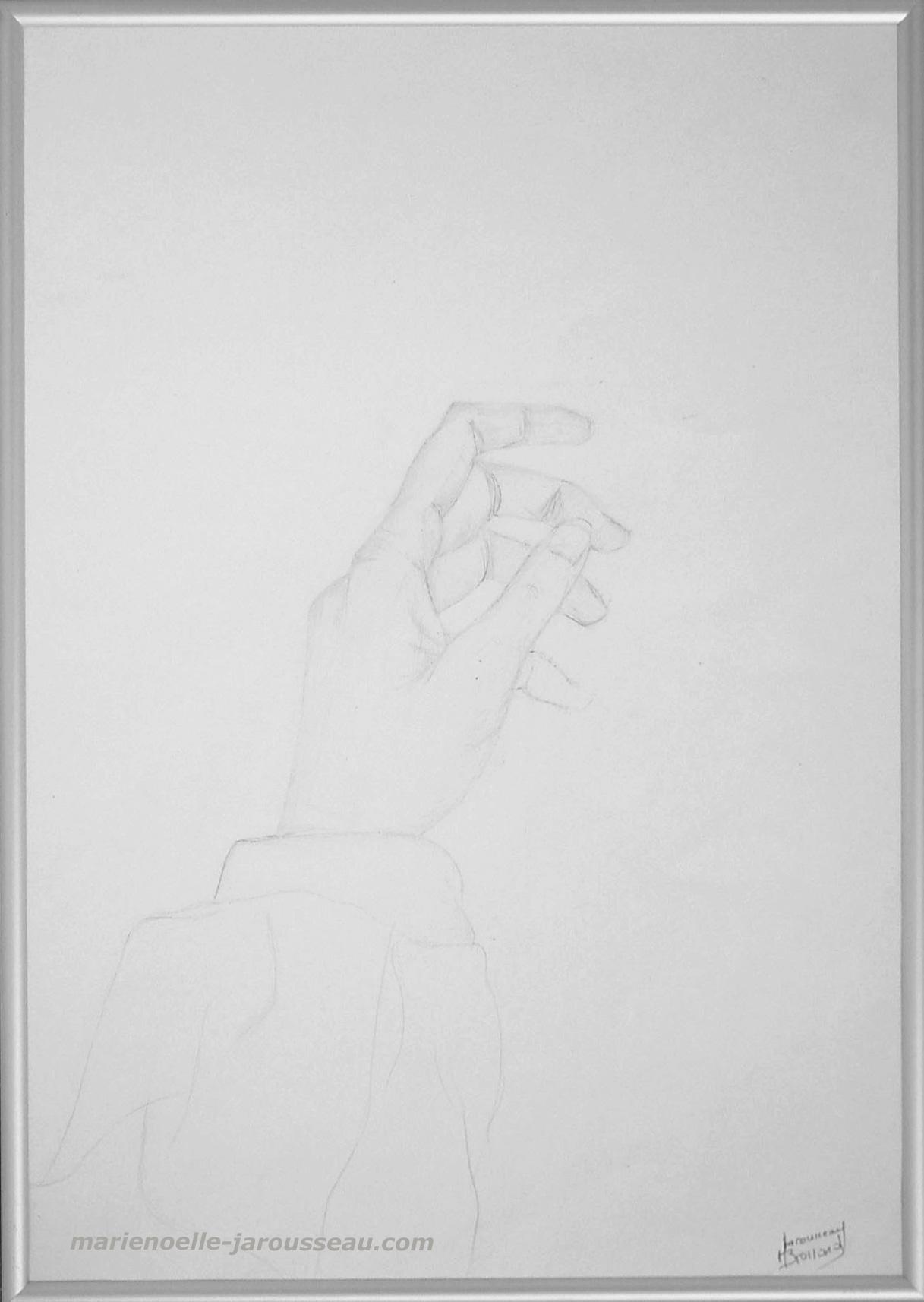 LA MAIN S'EVEILLE -Crayon - 30,5 x 42,5