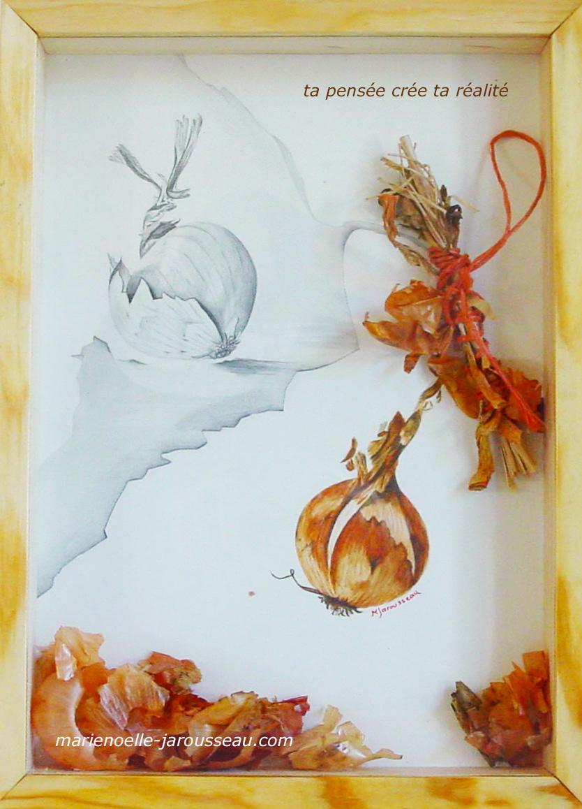 OIGNON -composition aquarelle  & crayon - 33 x 45