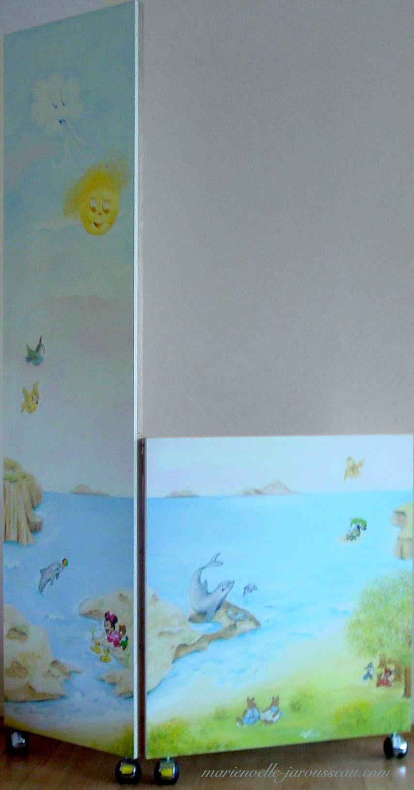 PARAVENT  JEUX  ENFANTS - huile sur bois - 116 x 183