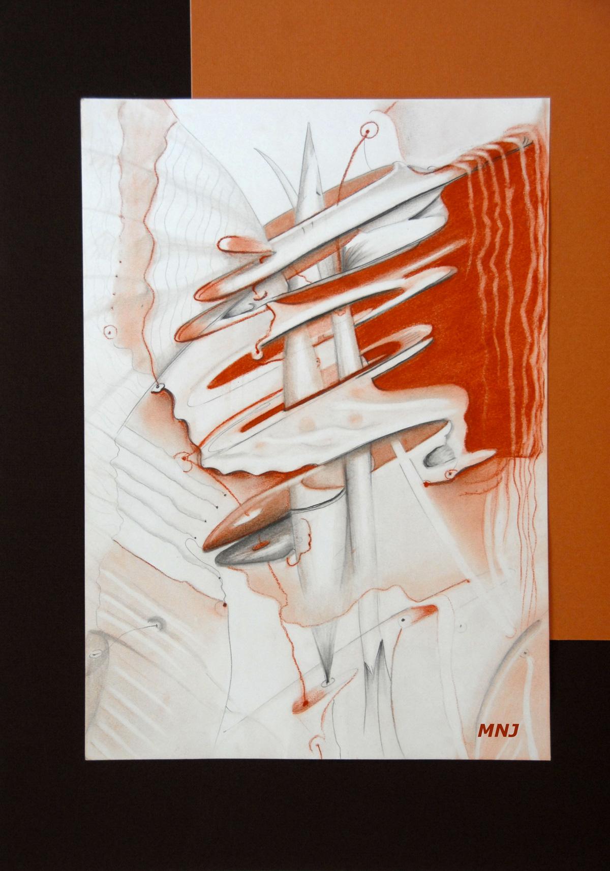 175 - PAPILLON INTERGALACTIQUE -crayon & pastel 30 x 42