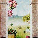 35 - LES ILES  - Décor peint - huile sur papier - 100 x 170