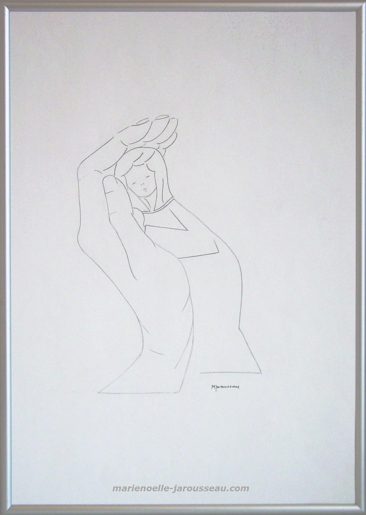 LA MAIN ECHANGE  -Crayon - 30,5 x 2,5