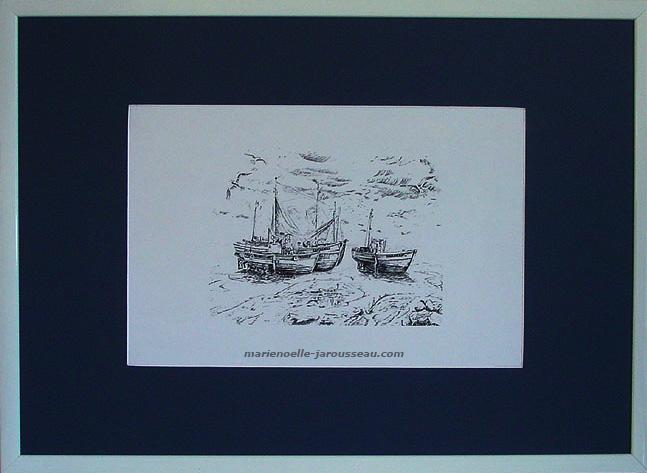 MAREE BASSE - Plume & encre de chine - 54 x 74