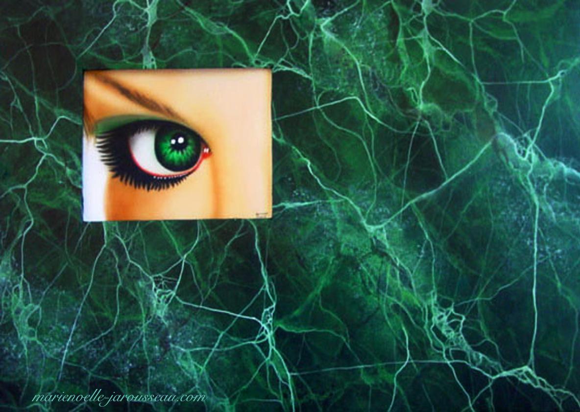 OEIL VERT -composition -  aérographie et faux marbre vert de mer