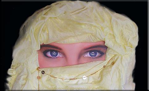 48-BEAUTE-D'ORIENT-Web-regard-détour-flou-étape-1-composition-sur-papier-plume--aérographie,-tissu-&-bijoux--110-x-160--avril-1995-&-mars-2003