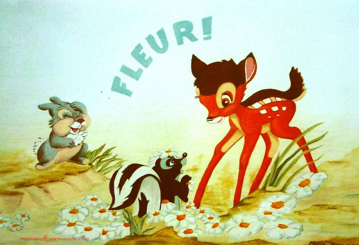 Bambi et les fleurs